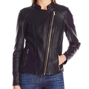 Calvin Klein Vegan Faux Leather Moto Jacket.